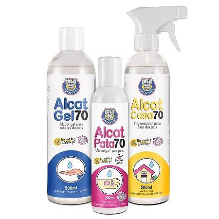 Kit Alcat 70 - Álcool Gel Pet, Casa e Humano
