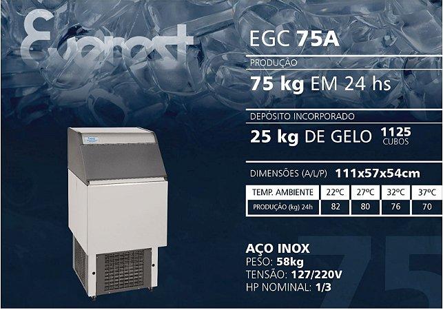 MÁQUINA DE GELO EVEREST EGC 75A