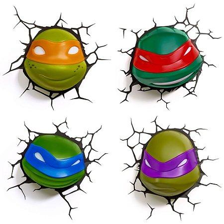 Conjunto Luminárias 3D Light FX Tartarugas Ninja Michelângelo/Rafael/Leonardo/Donatello