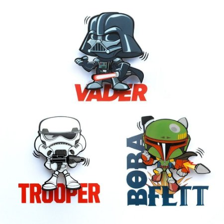 Mix Mini Luminárias 3D Light FX Star Wars Vader/Trooper/Boba