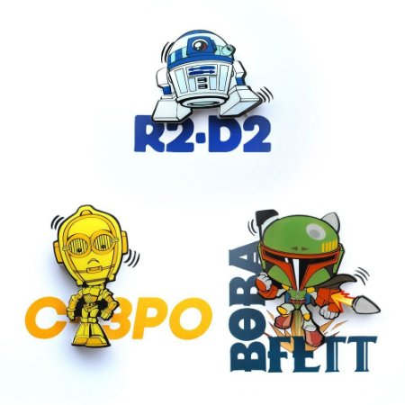 Mix Mini Luminárias 3D Light FX Star Wars R2-D2/C-3PO/Boba
