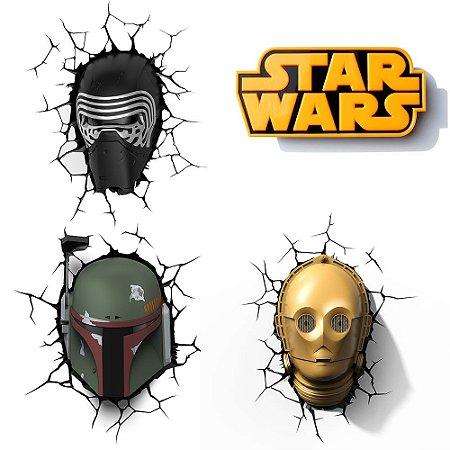 Conjunto Luminárias 3D Light FX Star Wars Boba Fett, C-3PO, Kylo Ren e Logo Star Wars
