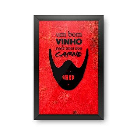 Quadro Porta Rolhas de Vinho Carne