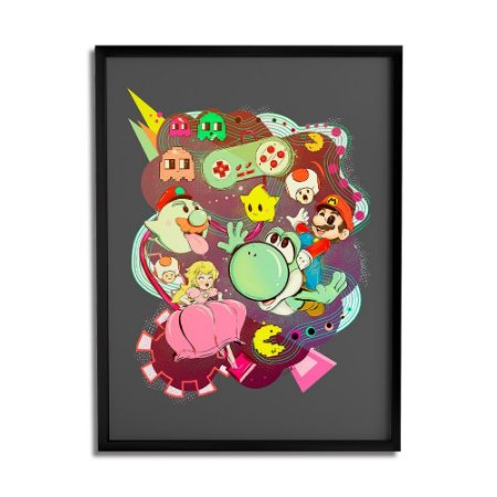 Quadro Decorativo Mario Vs Pacman By Lua Lins - Beek