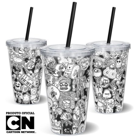 Copo Canudo 600ml Cartoon Network OFF Mix 2