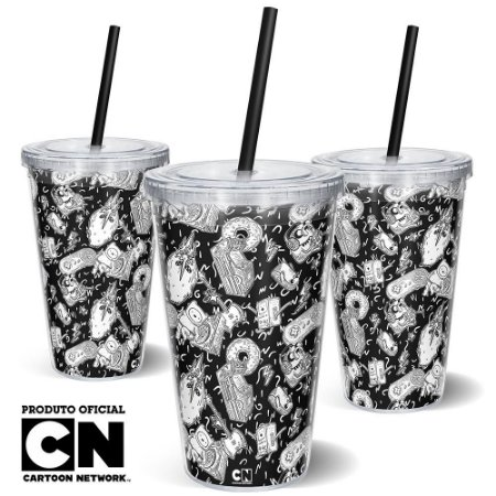 Copo Canudo 600ml CARTOON NETWORK OFF - Mix Hora da Aventura