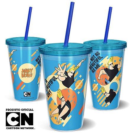 Copo Canudo 600ml Cartoon Network JOHNNY BRAVO BEAUTIFUL - Beek