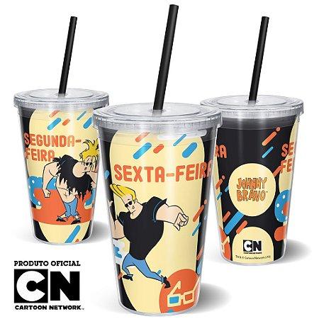 Copo Canudo 600ml Cartoon Network JOHNNY BRAVO SEXTA-FEIRA - Beek