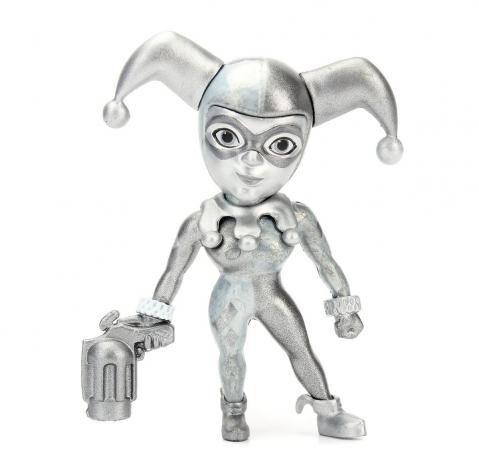 "Mini Bonecos Metal DIE CAST DC Arlequina Prata 2,5"""