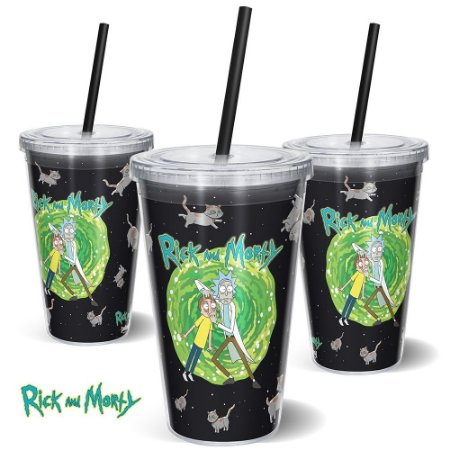 Copo Canudo 600ml Cats RICK AND MORTY Oficial - Beek