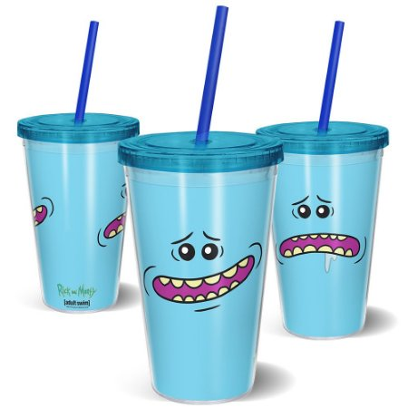 Copo Canudo 600ml MeeSeeks Rosto RICK AND MORTY Oficial - Beek