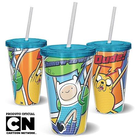 Copo Canudo 600ml Cartoon Network HORA DE AVENTURA HQ Finn e Jake - Beek