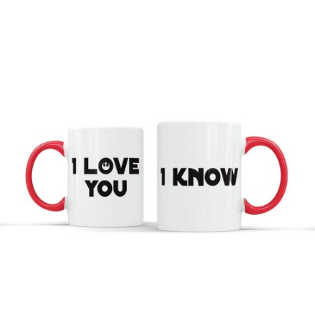 Kit 2 Canecas Casal - I LOVE YOU 02 (Vermelha)