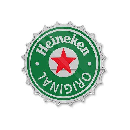 Espelho Decorativo feito em Acrílico Espelhado (35x35cm) - Tampinha Heineken