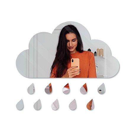 Espelho Decorativo feito em Acrílico Espelhado (55x30cm) - Nuvem