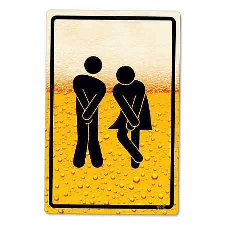 Placa Decorativa 24x16 - Banheiro Cerveja Unissex