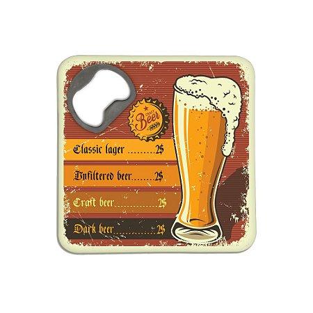 Porta Copos c/ Abridor - Menu Beer Retrô