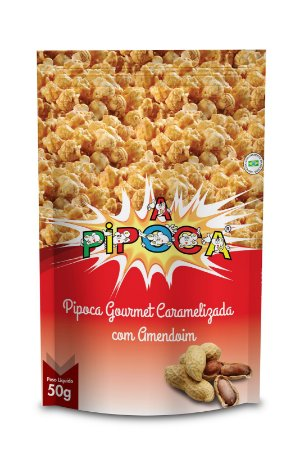 Pipoca Gourmet Caramelizada com Amendoim - Caixa com 12 unidades -  50g cada
