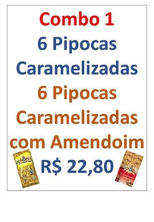 COMBO  PIPOCA CARAMELIZADA - CAIXA COM 12 UNIDADES - 6 PIPOCAS CARAMELIZADA 65G + 6 PIPOCAS GOURMET AMENDOIM 50G