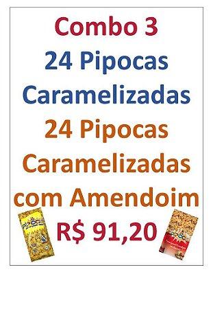 COMBO  PIPOCA CARAMELIZADA - CAIXA COM 48 UNIDADES - 24 PIPOCAS CARAMELIZADA 65G + 24 PIPOCAS GOURMET AMENDOIM 50G
