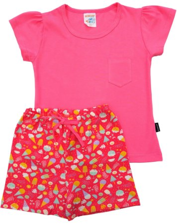 Conjunto de Pijama Rosa Com Estampa Sorvetes