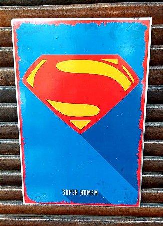 Placa decorativa em metal símbolo Superman