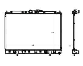 Radiador Pajero Tr4 2.0 ( 03 > ) / Pajero Io 2.0 ( 99 - 02 ) com Ar / Manual / Aluminio Brasado - CFB20421116