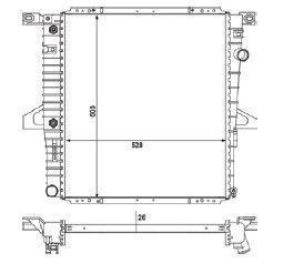 Radiador Ranger 2.3 ( 06 > ) com / sem Ar / Automatico / Manual / Aluminio Brasado - CFB2470126