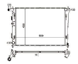 Radiador Cerato 2.0 16V ( 09 > ) com / sem Ar / Manual / Aluminio Brasado - CFB4406116