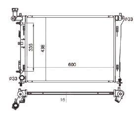 Radiador Cerato 2.0 16V ( 09 > ) com / sem Ar / Automatico / Aluminio Brasado - CFB2928116