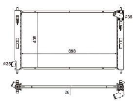 Radiador Lancer / Asx 1.8 / 2.0 ( 10 > ) / Outlander 3.0 V6 ( 07 > ) com Ar / Manual / Aluminio Brasado - CFB2978126