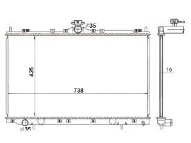 Radiador Grandis 2.4 16V ( 04 > ) com Ar / Automatico / Manual / Aluminio Brasado - CFB20425116