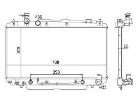 Radiador Rav4 2.0 L4 / 2.4 L4 ( 01 - 05 ) com / sem Ar / Automatico / Aluminio Brasado - CFB2403122