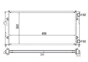 Radiador Golf 1.8 / 2.0 ( 91 - 97 ) Alemao G3 com / sem Ar / Manual / Aluminio Mecanico - CFB5727534