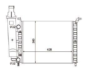 Radiador Palio / Siena / Strada 1.0 ( 96 - 98 ) sem Ar / Manual / Aluminio Mecanico - CFB7086534