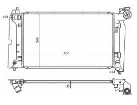 Radiador Corolla 1.6 / 1.8 16V ( 02 - 08 ) com / sem Ar / Manual / Aluminio Brasado - CFB2432116