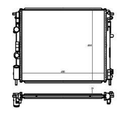 Radiador Clio ( 99 > ) / Logan / Sandero ( 07 - 14 ) 1.0 / 1.6 16V com Ar / Manual / Aluminio Brasado - CFB4643126