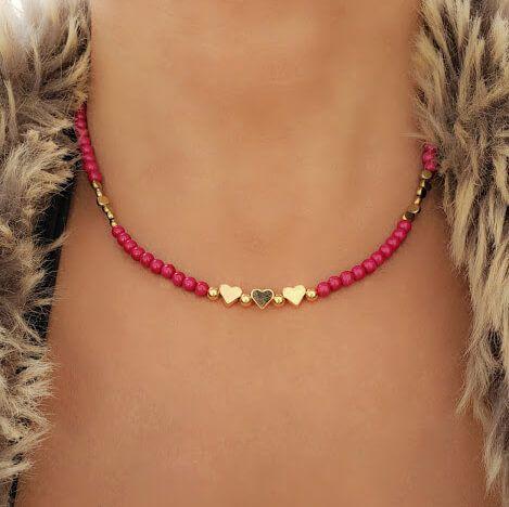Colar Murano Rosa Pink e Corações