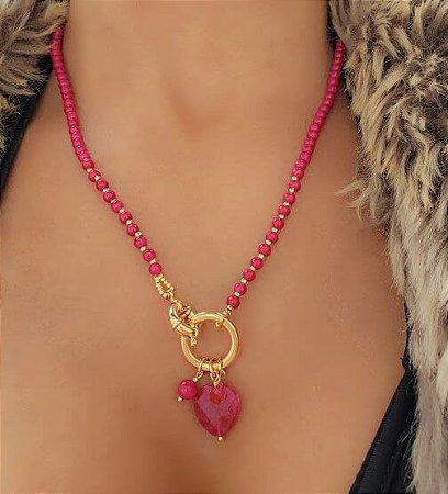 Colar Patuá Murano Rosa Pink e Coração de Quartzo