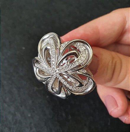 Anel Rhodium Branco Knot