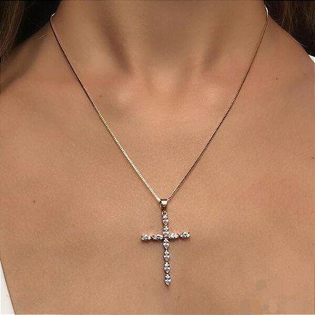 Colar Crucifixo Navetes