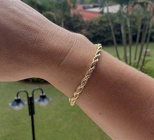 Pulseira Cordão Baiano banhado Ouro 18k