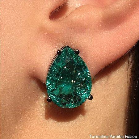 Brinco Gota Pedra Verde