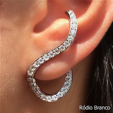 Ear Cuff Zircônia Rhodium