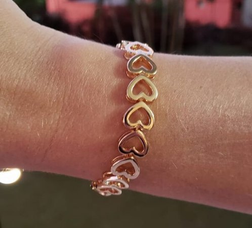 Bracelete Corações Ouro 18k