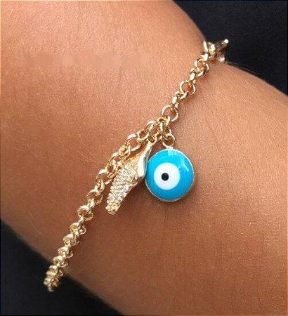 Bracelete Olho Grego com Pimenta