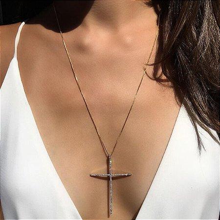 Colar Crucifixo Palito Cravejado