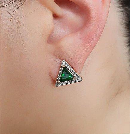 Brinco Triângulo Cravejado Pedra Verde