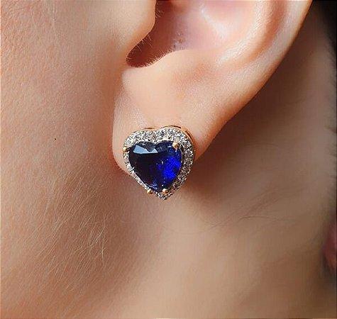Brinco Coração Cravejado Pedra Azul
