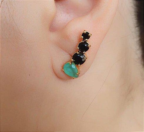 Brinco Ear Cuff Gotas Pedras